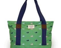 Monogram Tote Purse/ Handbag / Monogram Bag Pocketbook in Whale Print
