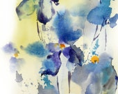 Abstract Flowers Watercolor Painting Art Print, Abstract Floral Blue Modern Painting,Watercolor Painting Wall Art