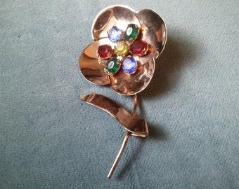Vintage Sterling Silver 925 Flower Pin Brooch - Colored Rhinestones
