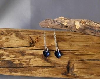 Sterling Silver and Swarovski Heart Earrings - Heart Earrings     (BD-887)