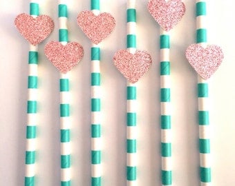 12 Teal Striped Paper Straws with Pink Glitter Heart - For Bridal Showers, Birthdays, Dinner Parties and Girls Nights