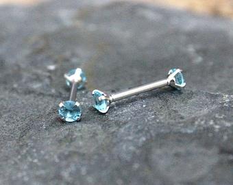Nipple Ring,Bridge Piercing,Aquamarine Crystal Nipple Piercing 14G 16G, Prong Stone Internally Threaded,Surgical steel Straight,Sold Single