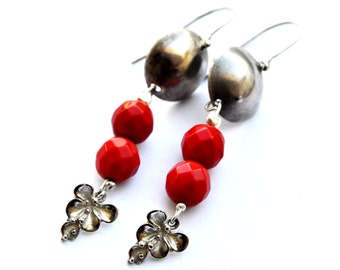 Silver earrings , Dangle earrings, red beads