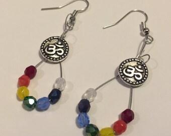 Rainbow Chakra Om Earrings
