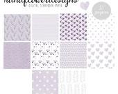 Lavender Digital Paper Pack, 10 Digital Papers - Leaves, flowers, sketched hearts, polka dots, birds, stripes, and laurels