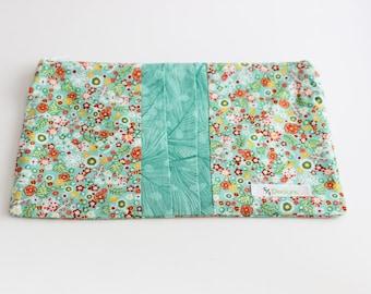 Flat Make-up Bag in Green Floral Print   Shannon Fraser Designs
