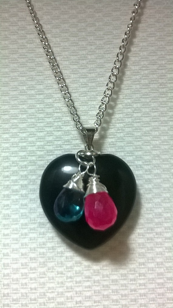 black obsidian pendant necklace with by