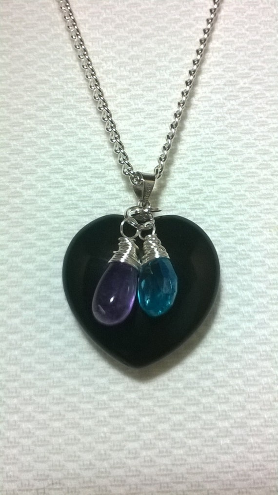 black obsidian pendant necklace with amethyst briolette