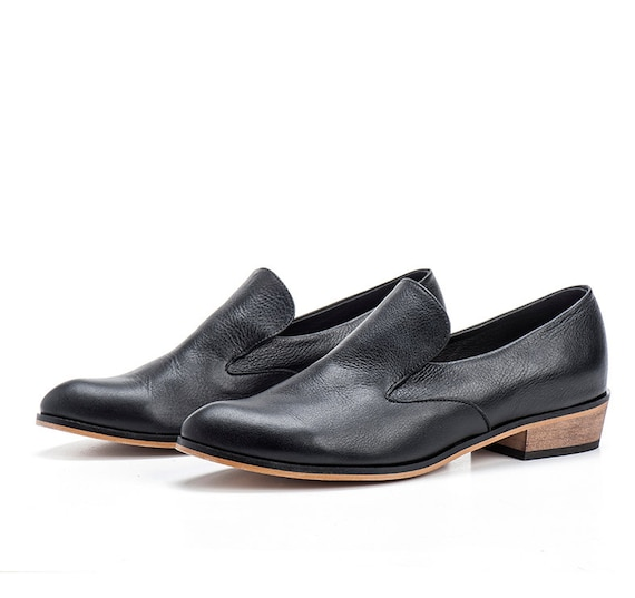 black leather flat shoes shoes by