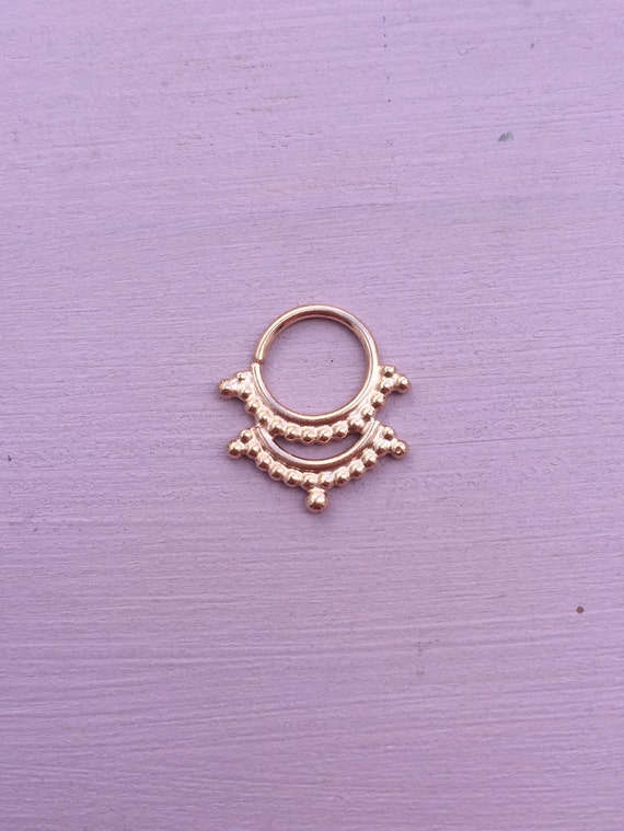 Piercing Pagoda Jewelry: Pagoda Septum Ring 22ct Rose Gold Vermeil By AliceRubyStudio