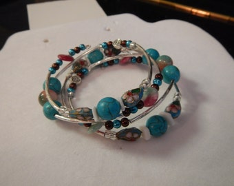 Cloisonne, jade, and pearl wrap style bracelet.