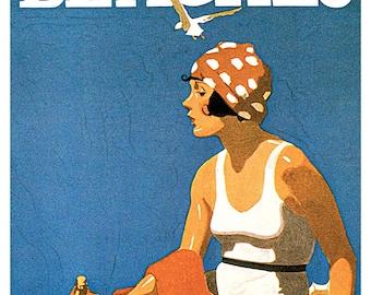 California Beaches Poster, San Diego, Los Angeles, San Francisco