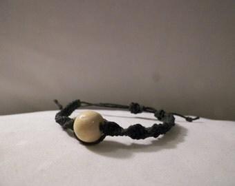 Spiral Hemp Bracelet with Wooden Bead