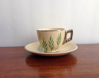 1930s Tea Cup | Leigh Potter's Green Wheat Cup and Saucer |  Art Deco Cup  | Vintage Tea Cup | Antique Tea set | Vintage Tea Set