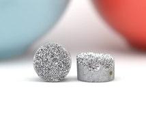Silver Druzy Beads   Silver Druzy Quartz Calibrated 10mm   Pair Drilled Druzy Beads   REAL Druzy