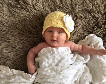 ready to ship baby hat, hat for baby girls, infant girl hat with flower, cotton beanie for baby girls, yellow hat with flower, newborn hat