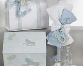 Complete set greek baptism candle * Baby boy carousel baptism theme Handmade blue white christening orthodox set Rocking horse Keepsake bag