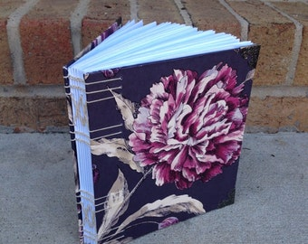 Journal: Hand-Bound, Blank, Purple, Floral Covers, 20 by 18 cm