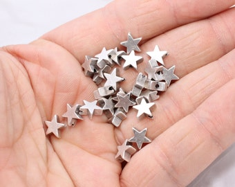 7,5mm  Antique Silver Star Beads 7,2mm , Mini Star Beads, Star Charms, AG4