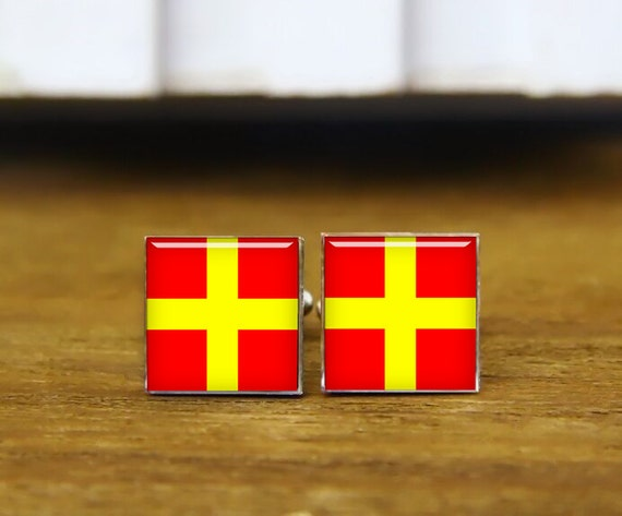 maritime signal flags cufflinks, marine flag cufflinks, Nautical Flags, custom Marine Signal Flag, round, square cufflinks & tie clips set