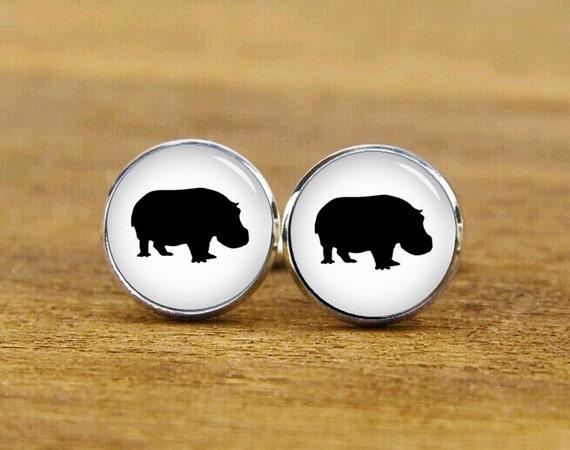 ON SALE hippo Cufflinks, Hippopotamus cuff links, custom wild animal cufflinks, round or square cufflink, hippo tie tack, hippo tie clip
