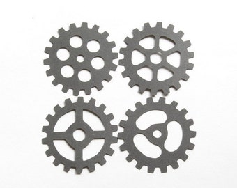 """60 Charcoal Gray Gear Die Cuts - 2"""" Inch Choose Your Color/Colors Diecuts Steampunk Mechanical Boy Tools Scrapbooking Cards Decorations Cute"""