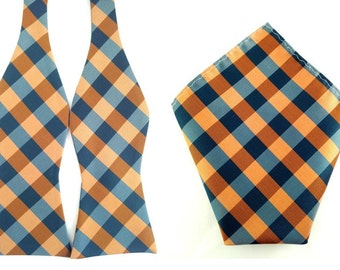 Green Orange Checkered  Self Tied Bowtie with Pocket Square.Combo Bowtie Pocket Square.Untied Bow Tie Hanky. Wedding Bowtie Pocket Square.