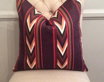 SALE! Handmade Decorative Pillow Cover - Chevron - Stripe - Navajo - Brown - Red - Beige