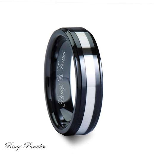 Ceramic Ring Mens Ceramic Wedding Band Ceramic By RingsParadise