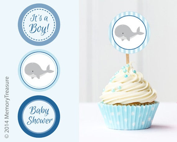 whale baby shower cupcake toppers printable baby shower cup cake toppers cupcake decorations diy boy baby shower its a boy blue whale theme - Decorating Baby Shower Cupcakes