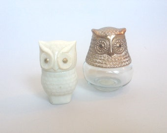 Mod Vintage Avon Owl Perfume/Cologne Bottles Set of 2