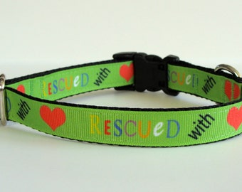 READY TO SHIP! Rescued with Love Small Dog Collar