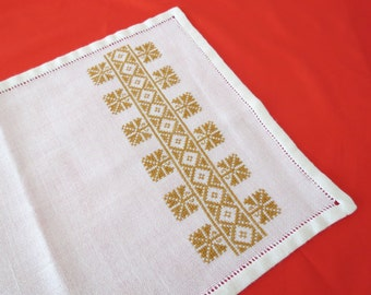 VINTAGE Ethnic Small Tablecloth   Cross Stitch Decorative Table Linen    Rustic Handmade Table Placemat