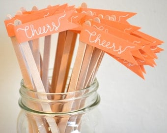 30 Paper Flag Stir Sticks or Drink Stirrers with Calligraphy