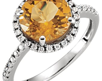14k White Gold 2.5 Carat Citrine & 1/6 Diamond Halo Engagement or Birthstone Ring
