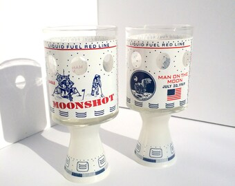 Vintage Mid Century Apollo 11 Moonshot Glasses Pair