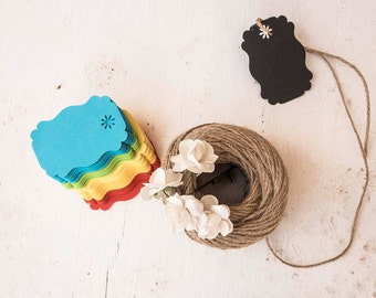 30 Rainbow paper tags with jute string