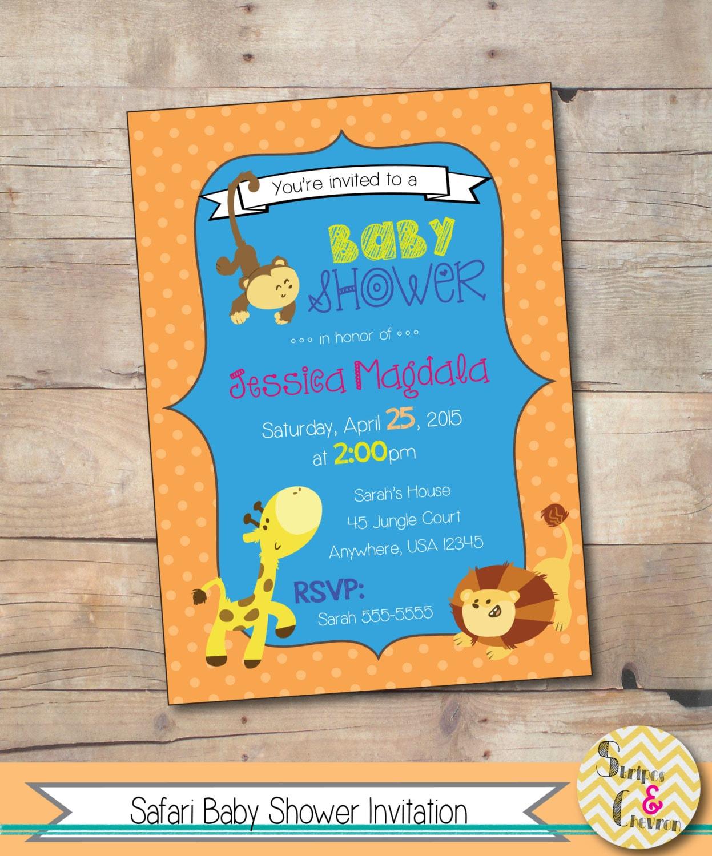 Safari Baby Shower Invitation: Safari Baby Shower Invitation Jungle Theme Baby Shower