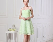 Short lace bridesmaid dresses with button zipper mint sweetheart prom dresses Strapless A-line Dress Short Wedding party dresses