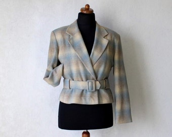 Women's Wool Jacket Plaid Jacket Ivory Pale Blue Light Gray Jacket Blazer with Belt Small Size