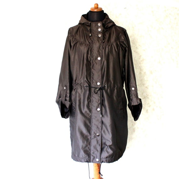 Brown Windbreaker Vintage Women Hipster Jacket Button Up