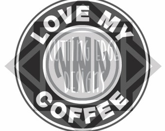 LOVE MY COFFEE circle shape with space for circle monogram for personal use