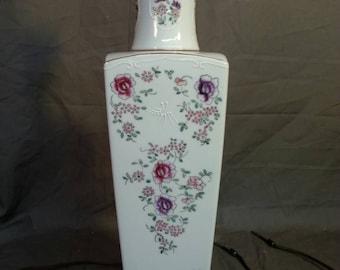 Old vintage porcelain Armoral Samson style table lamp light vintage lighting