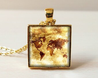 Bronze vintage map, World map necklace, Tribe map, silver square Necklace Pendant