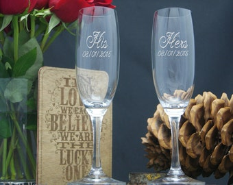 His and Hers Glasses / Personalized Champagne Glasses / Custom Etched Wedding Flutes / 48 DESIGNS