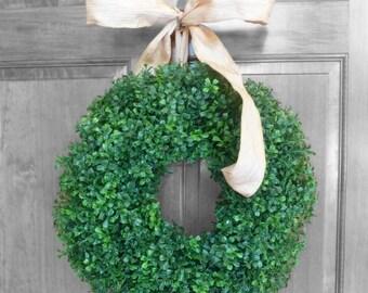 Spring / Summer BOXWOOD Wreath - Year Round Wreath Artificial Boxwood Wreath - Outdoor Wreath - Front Door Decorations - Door Wreath