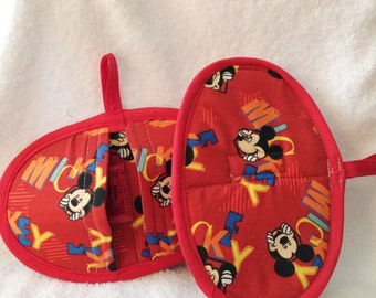 Pot Holders or Pot Pinchers - Disney Mickey Mouse Red