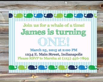 Whale Theme Birthday Party Invitation - Printable Custom First Birthday Invitation for Boy - 1st Birthday Party - Boy Birthday Invitation