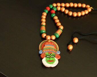 Terracotta Jewelry - Terracotta necklace and jhumka set - Kathakali Necklace set.