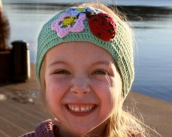 Headband with Flowers and Ladybug crochet pattern. Childrens size.